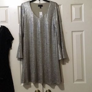 Connected Apparel Silver Bell Sleeve Dress